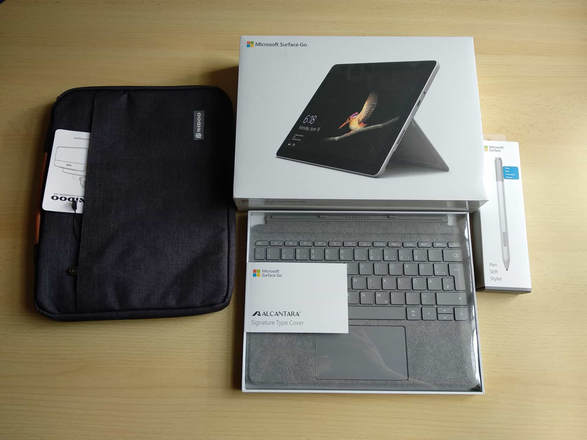 The Surface Go and its accessories