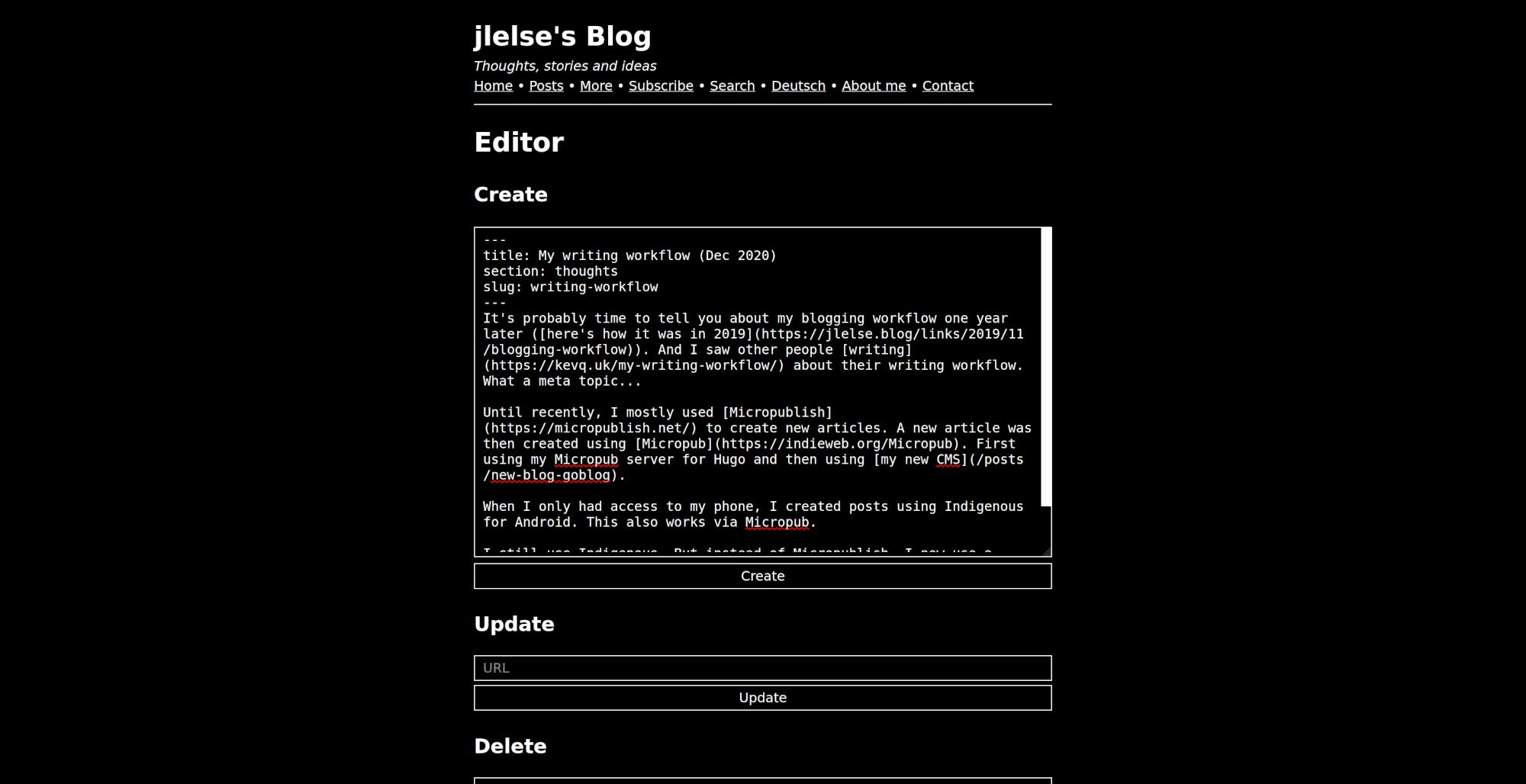 My blog editor