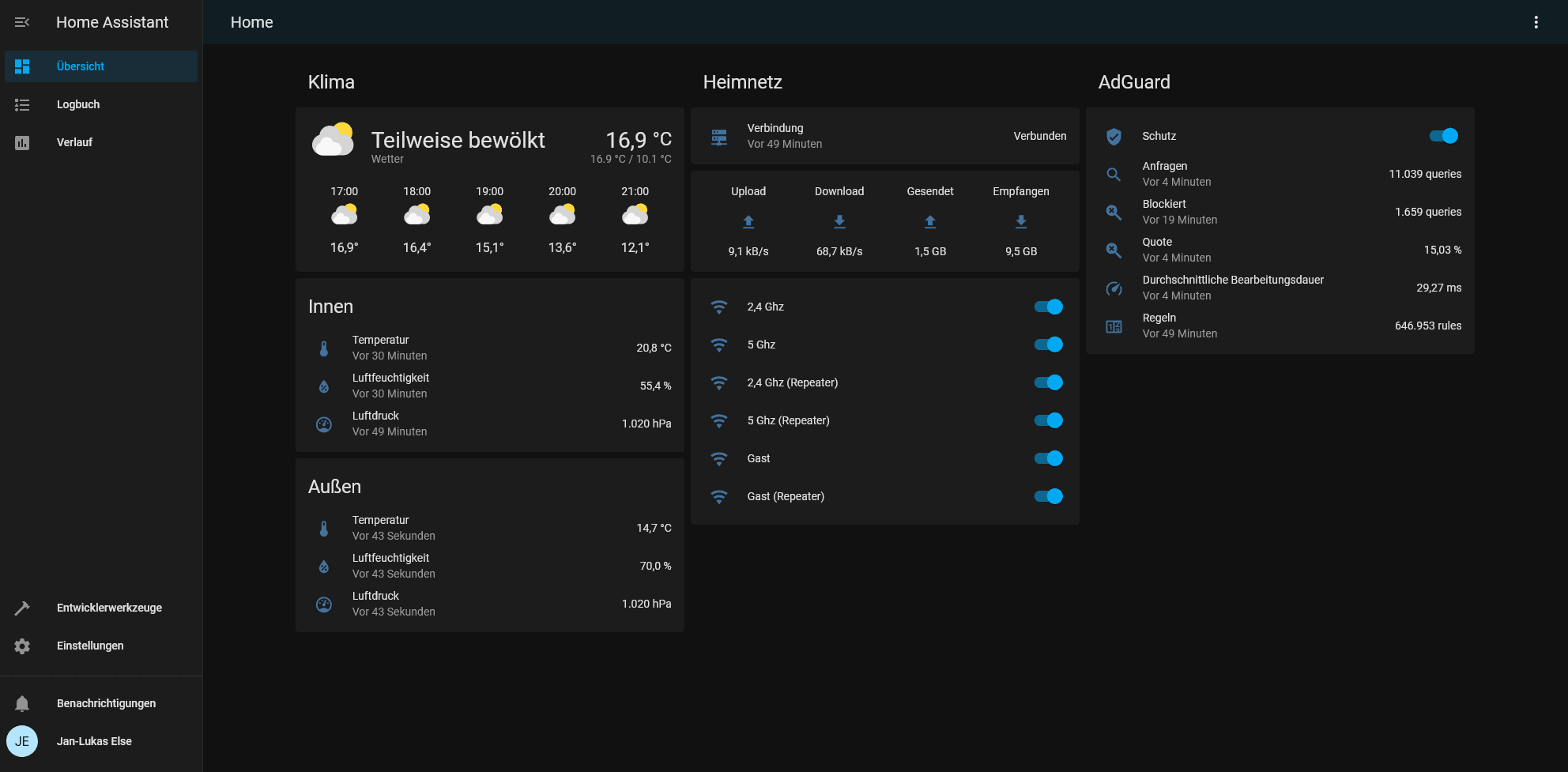 My Home Assistant dashboard