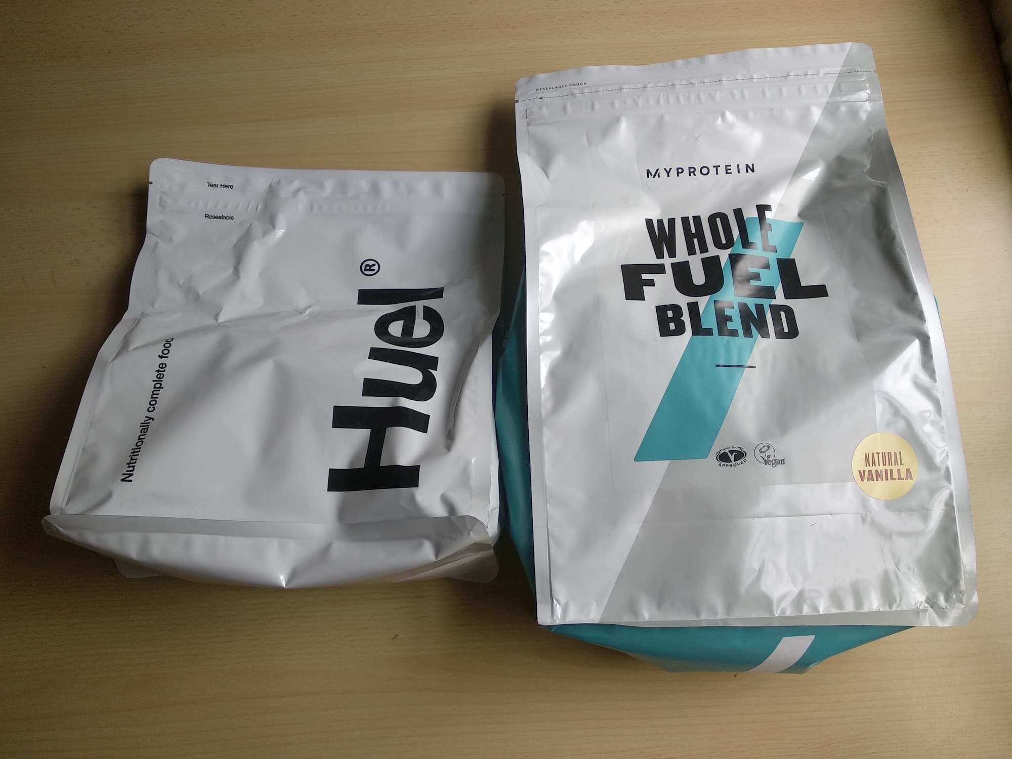Huel and Myprotein Whole Fuel Blend